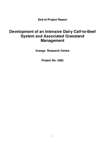 Development of an Intensive Dairy Calf-to-Beef System and