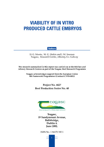 Viability of in vitro produced cattle embryos