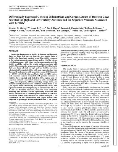 Differentially Expressed Genes in Endometrium and Corpus