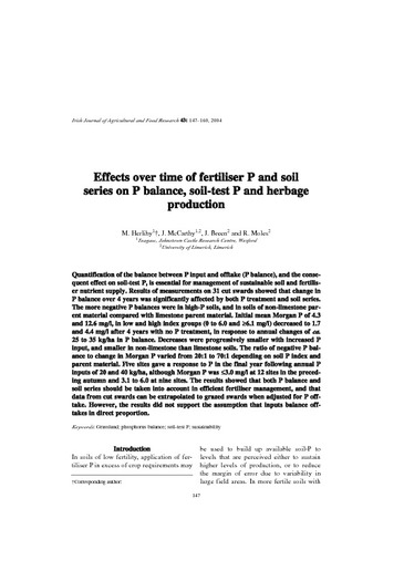 Effects over time of fertiliser P and soil series on P
