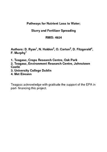 Environmental RTDI Programme 2000 – 2006