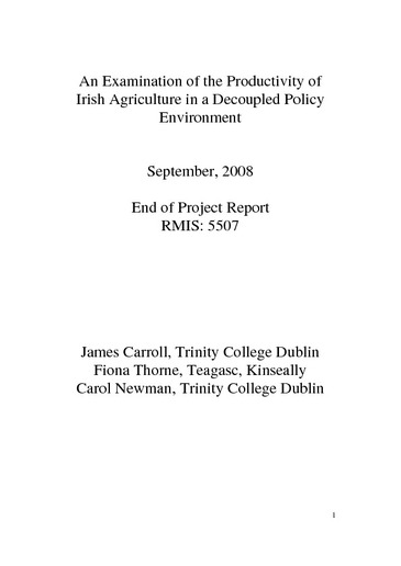 An Examination of the Productivity of Irish Agriculture in a Decoupled